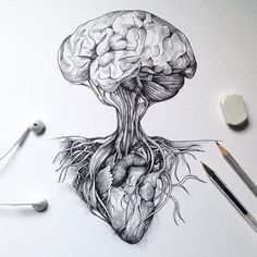 The World of the Mind Expressed in Drawings The Heart and Mind. The World of the Mind Expressed in Drawings. To see more art and information about Alfred Basha click the image. Cool Drawings, Tattoo Drawings, Drawing Sketches, Pencil Drawings, Drawing Art, Roots Drawing, Drawing Trees, Drawing Animals, Nature Drawing