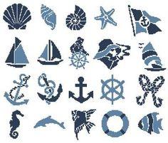 Nautical cross stitch in blue