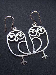 Sweet Owls  sterling silver owl earrings by melaniefavreau on Etsy