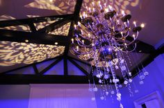 patterned lighting + chandelier /// #lighting #party #wedding #sparkle #eventuresinc