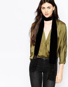NWT Monki Skinny Velvet Scarf w Tassels #37 BLACK O/S | Clothing, Shoes & Accessories, Women's Accessories, Scarves & Wraps | eBay!