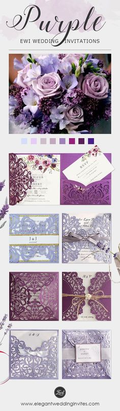 Shades of purple wedding invitations in plum, lavender and lilac packed with quality fancy laser cut cards