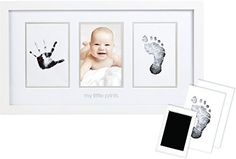 Pearhead Babyprints Newborn Baby Handprint and Footprint Photo Frame Kit with an Included CleanTouch Ink Pad to Create Babys Prints  A Perfect Baby Shower Gift *** See this great product.