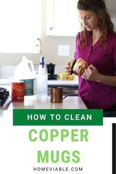 Learn how to naturally clean your copper mugs using salt and vinegar, among many other methods. #homeviable #cleancopper #naturalcleaning #cleaninghacks Kitchen Cleaning, House Cleaning Tips, Cleaning Hacks, All Natural Cleaning Products, How To Clean Copper, Kitchen Gloves, Best Cleaner, Mildew Remover, Copper Mugs
