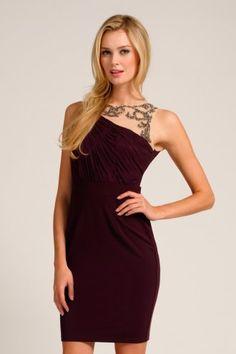 Little Mistress Plum Knot Shoulder Embellished Mesh Bodycon Dress #lmstule