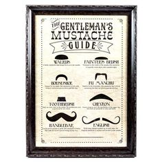 A true gentleman opens doors for a lady, buys her flowers for no reason, and knows how to groom a mustache! This quirky Gentleman's Mustache Guide Framed Wall Art will add good-natured fun to your man cave, living room or office.