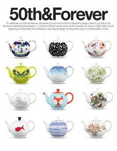 50th Anniversary Teapots I Crate and Barrel   Each month, beginning in December 2012, we will feature a new teapot design for sale online only in a limited edition of 200