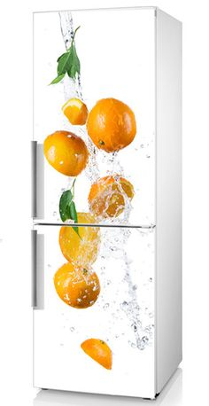 "Refrigerator decal, Fridge Vinyl Sticker ""Oranges"", Oranges Vinyl Refrigerator Decal, Kitchen Décor, Fruits Decal, Fridge citrus decal"