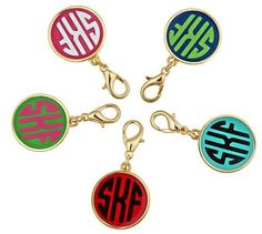 Gold Fashion Monogram Charm - Enamel Jewelry