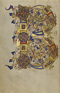 """""""Inhabited Initial B,"""" Montecassino, Italy, 1153. Tempera colors, gold leaf, gold paint, and ink on parchment."""