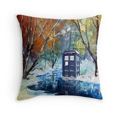 Snowy Blue phone box at winter zone Throw Pillows  #Pillow #PillowCase #PillowCover #CostumPillow #Cushion #CushionCase #PersonalizedPillow #tardis #doctorwho #painting #art #blue #starrynight #autumn #winter #phonebox