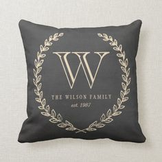 Chalkboard Style Monogram Pillow Monogram Pillows, Monogram Gifts, Custom Pillows, Decorative Throw Pillows, Accent Pillows, Personalized Gifts, Pillow Room, Wedding Keepsakes, Monogram Design