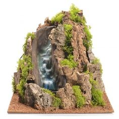Nativity setting, waterfall with stream Christmas Village Display, Christmas Nativity Scene, Christmas Villages, Christmas Wood, Christmas Carol, Dragon Garden, Aquarium Landscape, Waterfall Fountain, Mini Waterfall
