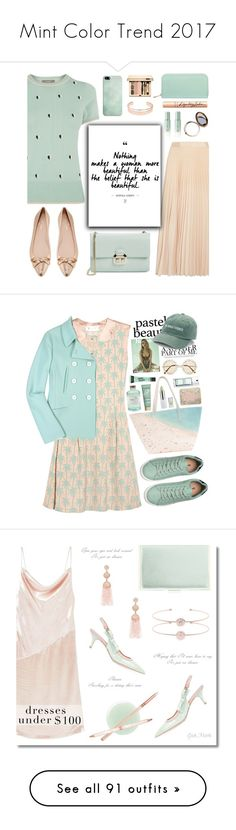 """Mint Color Trend 2017"" by yours-styling-best-friend ❤ liked on Polyvore featuring Oasis, Alice + Olivia, Odeme, Leith, Ted Baker, Tatcha, Aspinal of London, Kate Spade, Charlotte Tilbury and Clarins"