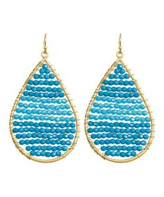 Take a look at this Teal & Gold Beaded Teardrop Earrings by Towne & Reese on #zulily today!