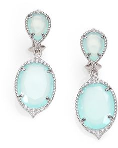 Judith Ripka Seafoam Chalcedony White Sapphire and Sterling Silver #Earrings Blue  #jewelry www.finditforweddings.com