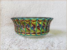 Glass BOWL  stained,hand painted,vitrail,vitrage   Dish,dinnerware,decor,candle holder,salad   Mediterranen,Crete   Ribbed.Green   OOAK  #etsy #etsycom    #vitrage #stainedglass #glassware    #homedecor #decor    #gift #giftidea