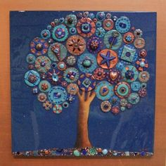 pacific gallery!<3 A tree in deep blue sparkle with copper frame