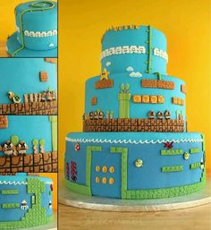 Mario bros cake., think I'll do this for Carter's 6th bday cake