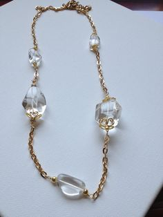 Crystal Quartz Gold Necklace by BlueCielJewelry on Etsy, $37.00