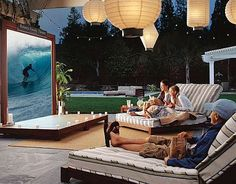 Retractable outdoor screen - this Outdoor Entertainment Set from PBteen stands-out in its league.