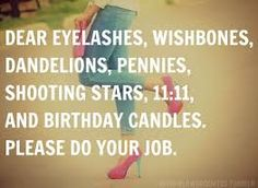 Dear eyelashes, wishbones, dandelions, pennies, shooting stars, 11:11, and birthday candles. Please do your job.