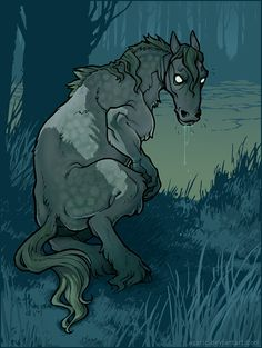 """The Each Uisge (pronounced """"ech ooisky"""" ) - each = horse, usige = water (like whisky) is the fiercest and most dangerous of the Scottish water spirits. While the Kelpie lived in running water, the Each Uisge lived in the sea, sea lochs and fresh-water lochs. In Ireland its equivalent was called the Aughisky."""