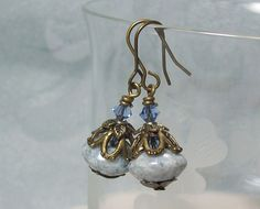 Blue Earrings Czech Marble Luster Glass by MissVickiesShop on Etsy, $7.00