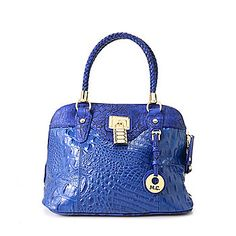 """Madi Claire """"Lucy"""" Croco Embossed Leather Woven Double Handle Dome Satchel w/ Strap"""