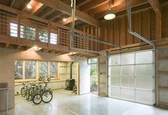 inside garage with industrial pendant lights garage modern and balcony