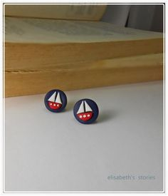 navy blue stud earrings polymer clay and  by elisabethsstories, €16.00