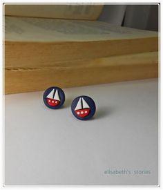 navy blue stud earrings polymer clay and  by elisabethsstories, €16.00