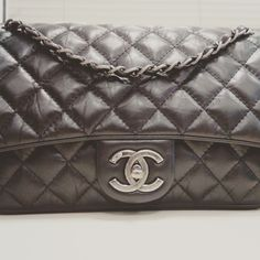 My super wow large Chanel aged (distressed)  calfskin flap with ruthenium hardware!