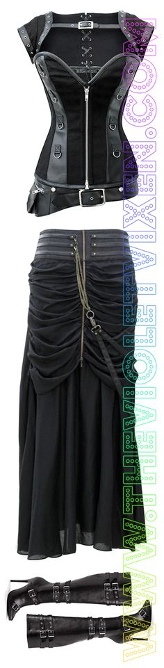 Black Steampunk Outfit! Steelboned corset with removable jacket, long layered lightweight detailed skirt with chains, high heel buckle boots. www.thevioletvixen.com