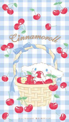 Cinnamoroll and cherries Sanrio Wallpaper, Soft Wallpaper, Hello Kitty Wallpaper, Kawaii Wallpaper, Wallpaper Iphone Cute, Aesthetic Iphone Wallpaper, Kawaii Art, Kawaii Anime, Melody Hello Kitty