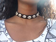 Leather Cowrie Shell Choker Necklace
