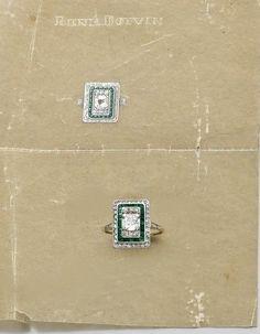 René Boivin. Bague rectangulaire en or et platine centrée d'un diamant taille ancienne encadré par des diamants coussins, l'entourage orné d'une ligne d'émeraudes calibrées et d'un rang de diamants. Epoque Art Déco. Photo courtesy Artcurial