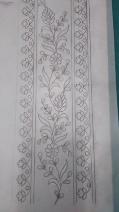 *moms frame (just the narrow border at the bottom with the double lines. Maybe add a raised bead-look border between the lines close to the inside of the frame) Zardozi Embroidery, Embroidery Motifs, Ribbon Embroidery, Machine Embroidery, Hand Embroidery Design Patterns, Embroidery Flowers Pattern, Indian Embroidery Designs, Pencil Design, Border Design