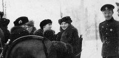 "OTMA in the winter time, taking a ride. Grand Duchesses Marie (smiling on left), Olga, Anastasia and Tatiana Nikolaevna Romanov. """