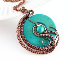Wire Wrapped Pendant Turquoise and Copper Jewelry by PolymerPlayin