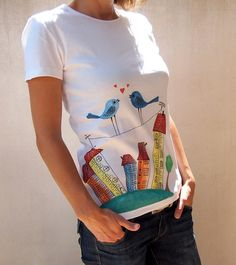 hand painted tshirt, colourful funky original hand made handpainted teenage ornament t-shirt gift for her house town birds love tee clothing