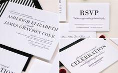 Monterey Black and White Letterpress Wedding Invitation by Lauren Chism  #letterpress #wedding #invitations