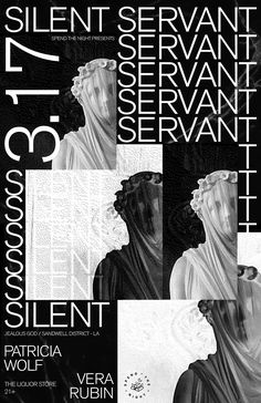 Evan Geltosky : Poster for silent servant show in pdx Graphic Design Layouts, Graphic Design Posters, Graphic Design Typography, Layout Design, Web Design, Graphic Design Trends, Brochure Design, Poster Layout, Poster S
