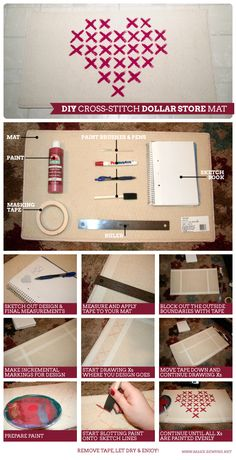 Make your own painted Cross-Stitch kitchen rug with Dollar Store materials!  via Sea Rewynd Make