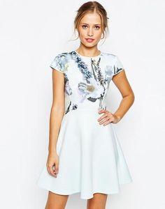 Ted Baker Faythe Torchlit Floral Skater Dress at asos.com #skaterdress #offduty #women #covetme