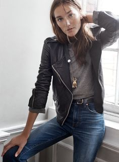 "madewell washed leather epaulet jacket worn with the ribbed funnelneck top, 11"" high riser crop flares, backcountry belt + inlaid token necklace. #denimmadewell"