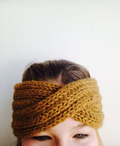 handknit turban headband - camel heather