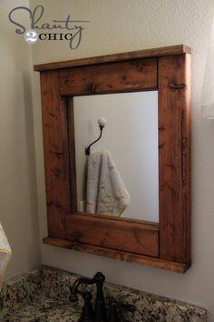 Bathroom Mirror Frame - DIY Wood Mirror from a cheap Walmart mirror. Rustic Mirrors, Wood Mirror, Diy Mirror, Mirror Ideas, Framed Mirrors, Bathroom Mirrors Diy, Wooden Bathroom, Redo Bathroom, Crates