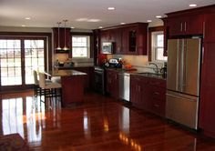 Cherry kitchen cabinets, help to make your kitchen look stunning. Find amazing cherry kitchen cabinets designs and how to fixing the scratch here. Kitchen Floor Plans, Kitchen Flooring, Kitchen Backsplash, Backsplash Ideas, Maple Flooring, Wood Flooring, Cherry Cabinets, Maple Cabinets, Dark Cabinets