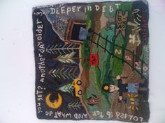 Folk art hand hooked rug. Tribute to my dad as a coal miner.